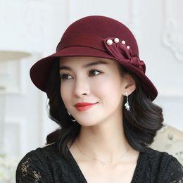 1d0a560d4d4f12 Beckyruiwu Mother Gift Lady Winter Top Quality Pearl Bowknot Bucket Hats  Women Party Formal 100% Wool Felt Hats