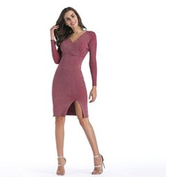 5d7062701c Amazon Fashion Hot Sale V Collar Long Sleeved Pencil Skirt With Open Fork  Knitted Dress Autumn and Winter Medium Style Dress