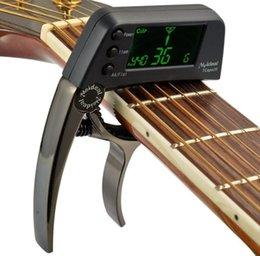 Toptan satış TCapo20 Akustik Gitar Capo Hızlı Değişim Anahtar Gitar Capo Tuner Elektro Gitar Parçaları için Bas Ukulele Kromatik Alaşım