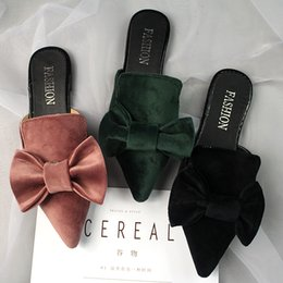 blue pointed bow flats 2019 - big velvet bow sandals women pointed toe slippers brand designer bowtie mules ladies summer shoes sandalias mujer y131 c