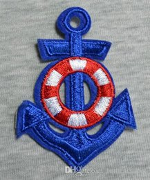 Wholesale Blue Anchor Iron On Patches Made of Cloth Guaranteed Quality Appliques sew on clothes