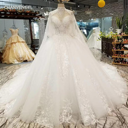 short wedding dresses veils UK - 2019 Latest Tassel High Neck Wedding Dresses Spaghetti Short Sleeve Long Tulle Lace Veil Hand Made Pattern Applique Garden Wedding Gowns