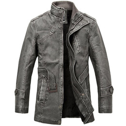 Mens Parka Leather Australia - PU Leather Jacket men long wool leather Standing Collar Jackets Coat outwear Trench parka mens jackets and coats