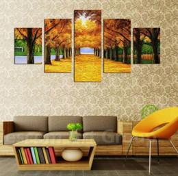 $enCountryForm.capitalKeyWord NZ - Autumn Tree defoliation Canvas Art Yellow Leaves With Sunshine Scenery Wall Painting Print on Canvas for Study Office Decor