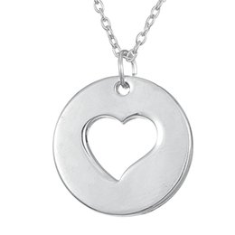 Heart Shaped Chains For Couples NZ - lemegeton dropshipping high polished round disc and heart shaped couple jewelry for women and girl necklace as Valentine's Day Gift