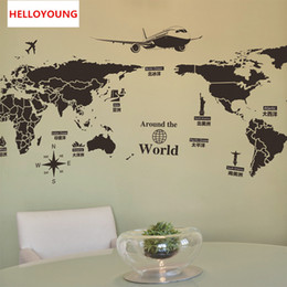 maps decorative UK - DIY Home Decorative Creative personality World Map Wall Stickers Bed Rooms Waterproof Wallpapers Mural All-match Style