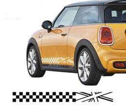 $enCountryForm.capitalKeyWord Canada - Checkered Style Side Stripes Car Body Sticker Car Door Skirt Decal For Mini Cooper Clubman Countryman Paceman F55 F56