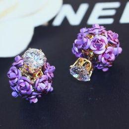 $enCountryForm.capitalKeyWord NZ - HOT Sale Flower and Zircon Double Sided Earrings for Women party Jewlery Korean Fashion Stud Earrings Accessories