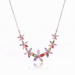 acrylic chain link necklace wholesale NZ - Trendy Alloy Link Chain Colorful Necklaces Rose Gold Color Flower Cubic Zirconia Chain Necklace For Women Birthday Gift Dropshiping