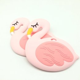 $enCountryForm.capitalKeyWord Canada - 5 PCS Flamingo Silicone Teether Food Silicone Teething Pendant Baby Chew Beads Nursing Teether Infant Toddlers Toy Shower Gift