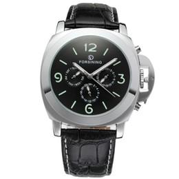 Chinese  FORSINING Leather Band Men Watches Big Case Fashion Casual Clock Men Mechanical Wristwatch Luminous Dial Relogio Masculino D18101002 manufacturers