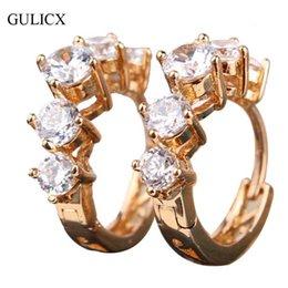 f536aa891 Wholesale- GULICX Fashion Hoop Earing for Women Gold-color Crystal CZ  Zircon Earrings Wedding Jewelry Free Dropshipping Worldwide E104