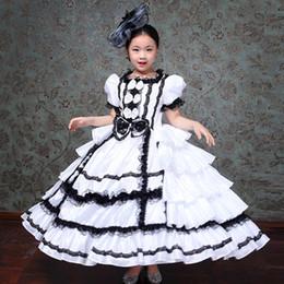 Wholesale renaissance costumes women online – ideas Free ship children s girls ruffled black white medieval stage costume renaissance gown dress