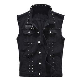 Black rivet jackets men online shopping - Denim Vest Men s Punk Rock Style Rivet Cowboy Black Jeans Waistcoat Raw Edge Male Motorcycle Jacket Sleeveless Tanks