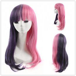 Melanie Martinez cosplay halv lila halvrosa peruk långa raka kvinnor peruker
