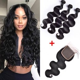 Top closure hair weaves online shopping - Brazilian Body Wave Human Hair Bundles With x4 Top Lace Closure x4 Ear To Ear Lace Frontal Natural Black Pre Plucked Bleached Knots