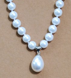 "$enCountryForm.capitalKeyWord NZ - Hand knotted charming 8mm white shell pearl round beads drop Pendant(12x16MM) necklace 18"" fashion jewelry 2 lot"