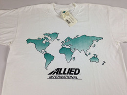 $enCountryForm.capitalKeyWord Canada - Allied International T-Shirt VTG Mens SZ M L World Map 90s NEW White Green Globe Trump sweat sporter t-shirt