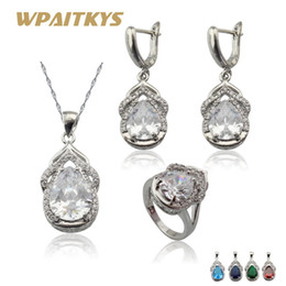 white stone earrings gold 2019 - whole sale5 colors available Stones Luxury Silver Color Jewelry Sets For Women Party Earrings Ring Pendant Necklace Free