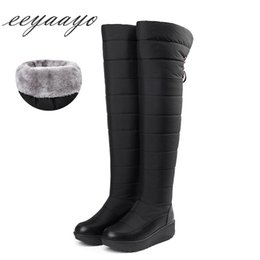 $enCountryForm.capitalKeyWord UK - 2018 New Winter Women Over-The-Knee Boots Wedge Middle Heel Round Toe Sexy Ladies Women Shoes Black Down Snow Tight High Boots