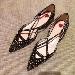 2018 Summer New Pointed Rivet Pearl Flat Black Cross Tied Women Sandals 0732b1dcd450
