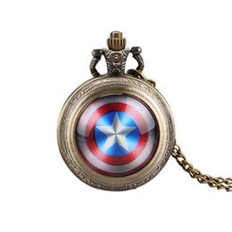 Discount new trendy watches - Trendy Pocket Watch, Captain America's Shield Quartz Pocket Watch for men, Star Pendant Mini Pocket Watch Gift