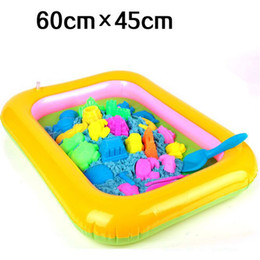 Discount sandbox toys - 1pc Inflatable Toys For Children's Early Educational Kids Beach 60cm Sandbox Magic Playing Sand Special Sand Box Be