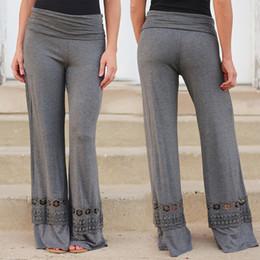 Discount dark grey yoga pants - free shipping elegant casual yoga sport cotton pants with lace pants pantalon women loose wide leg trousers for female