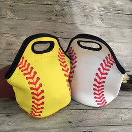 cool sports bags wholesale Canada - Neoprene Baseball Food Bag Softball Lunch Tote Bag Cooler Bag Carriers Solid Color With Red Lace Sports Series Food Carrier DOM106838