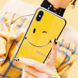 Painting Faces Australia - for iphone X 8 7plus 6s phone case glass Shell 2 in 1 painting Scratch-resistant flowers IMD Printing black Cartoon Cute Lovely smiling face