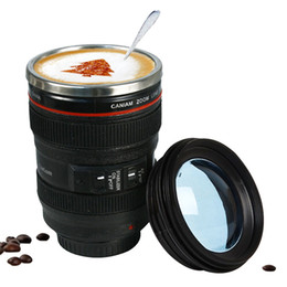 Camera Coffee online shopping - 400ml Stainless Steel Camera Lens Mug With Lid New Fantastic Coffee Mugs Tea Cup Novelty Gifts Caneca Lente Cups Drinkware