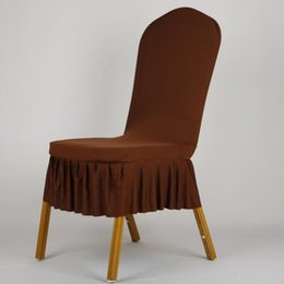 Chinese  Elegant Pleated Skirt Wedding Chair Cover Short Style Spandex Stretch Dining Room Stool Seat Chair Cover manufacturers