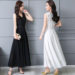 Women elegant High waist Sexy Long Dress Solid Lady Casual V-neck sleeveless  Swing Dress Female thin Chiffon Net yarn dress HMH21 3d81893ca