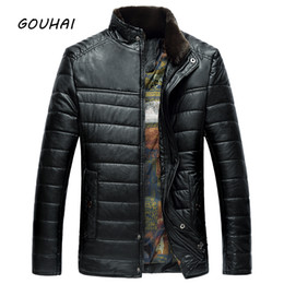 Mens Parka Leather Canada - Casual Solid Stand Collar Leather Jacket Mens Parkas Fashion Brand Winter Jacket Men Leather Jackets Male Coat Plus Size M-3XL