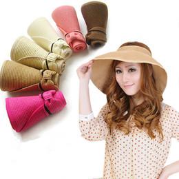 Verão colorido chapéu de sol portátil Sun UV proteção tampas vazias grande chapéu de palha da praia feminino chapéu de sol dobrável em Promoção