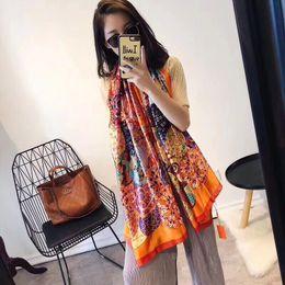 Wholesale Brand silk scarf High Quality women brand colorful shawl scarfs Pashmina fashion long ring Christmas gift wholesale A16