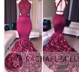 Purple Square Sequin Prom Dress Australia - Burgundy Mermaid Long Prom Dresses 2017 African Lace Appliqued Sleeveless Open Back Sequins Ruffled Sweep Train Evening Party Gowns