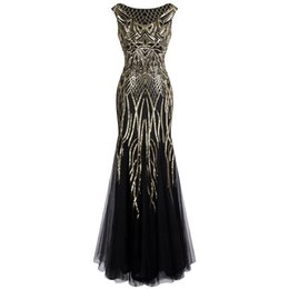 Ангел-мода Женская Pattern блесток Бато Cap рукавом хлопушки Русалка вечернее платье платья выпускного вечера платье черное золото 377