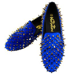 $enCountryForm.capitalKeyWord NZ - Harpelunde Slip-on Men Dress Wedding Shoes Handmade Blue Velvet Loafers Spikes Fashion Flats 6 to 14