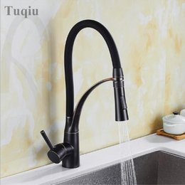 Single handle kitchen Sink faucetS online shopping - Black Oil Brush Mixer Faucet for Kitchen Single Handle Pull Down Sink Faucet Deck Mounted Crane for Sink