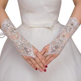 Bride Bracelet rings online shopping - New Hot Sale Pair Fingerless Lace Wedding Gloves New Hot Sale Fashion White Ivory Bride Bridal Gloves With Ring Bracelet