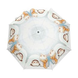 $enCountryForm.capitalKeyWord NZ - Ultra-light So Cute Hamster Children Rain Umbrella Lovely Animal Automatic Three Folding Umbrella for Women Windproof Umbrellas