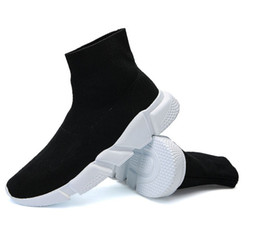 Chinese  size36-45 New Men and WomenShoes Paris Famous Brand Speed Trainer Mid Black White Top Quality Sneakers Mens Sock Shoes Free Ship manufacturers