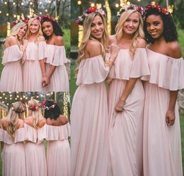 China Bridesmaid Dresses Country MUMU 2018 Modest Pink Chiffon Beach Junior Maid of Honor Dress Bohemian Formal Wedding Party Guest Gowns supplier juniors bohemian dresses suppliers