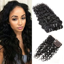 Discount virgin remy indian hair weave closure - Brazilian Water Wave Bundles with Closure Wet and Wavy Brazilian Virgin Hair Extensions with Lace Closure Unprocessed Re