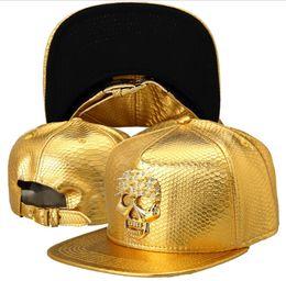 Skull Ball Caps Canada - High Quality 2018 Star PU Hats Skull Snapback Gold Ball Caps Hip Hop Baseball Hats Popular Mens Sports Adjustable Hats DJ Gift 001
