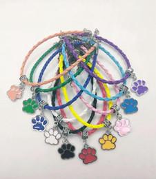 $enCountryForm.capitalKeyWord NZ - 10 Mixed Color Drip Enamel Dog Cat Bear Paw Charm Leather Braided Rope Bracelets & Bangles Gift New Enamel Fashion Jewelry A95