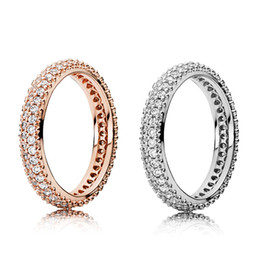 Sterling Silver .925 online shopping - 100 Sterling Silver RINGS With Cubic Zircon Original box For Pandora Fashion Ring for Valentines Day Rose Gold Wedding Ring Women