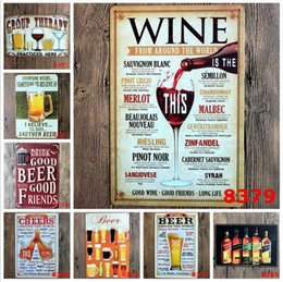 Discount antique beer signs - Vintage Metal Tin Signs For Wall Decor Beer Iron Paintings 20*30cm Metal Signs Tin Plate Pub Bar Garage Retro Home Decor