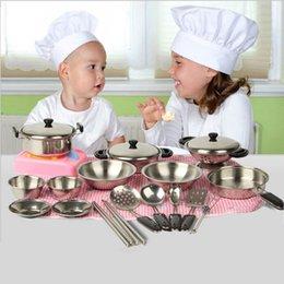 Venta al por mayor de 20 unids / set ollas de acero inoxidable sartenes utensilios de cocina de juguete en miniatura juego de simulación de regalo para niños niños juguetes educativos de año nuevo